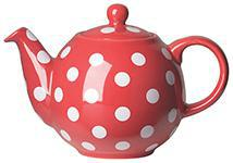 RED W/WHITE DOTS TEAPOT 6 CUP