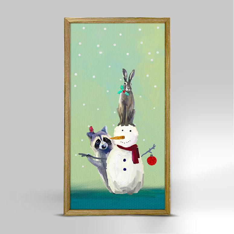 SNOWMAN RACCOON AND RABBIT 5X10 NB60178