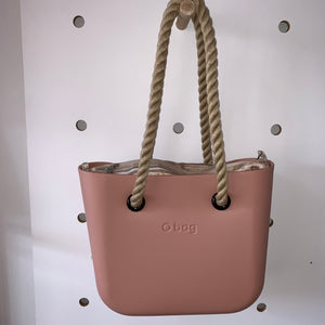 Blush Mini with Haiti Natural insert and Natural rope handles.