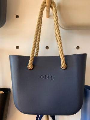 Classic navy with natural rope handles.