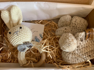 Mini boxed Teether rattle and booties