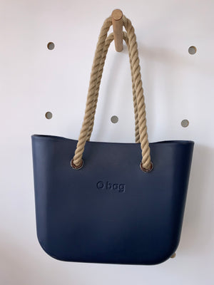 Navy Mini with Natural rope handles