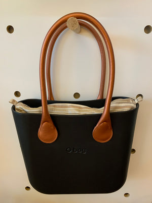 Graphite mini with Haiti natural insert and faux leather Copper handles