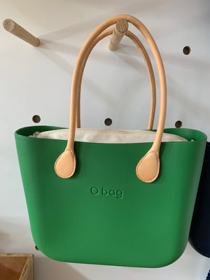 English Green Mini with natural canvas insert and natural leather handles.