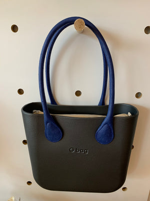 Graphite mini with cobalt faux leather handles and natural insert