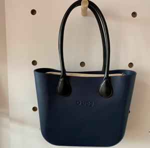 Navy Mini with Natural canvas insert and Black Leather handles