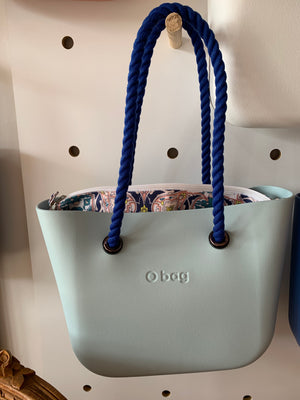 Powder Blue mini with Foulard insert and blue rope handles.