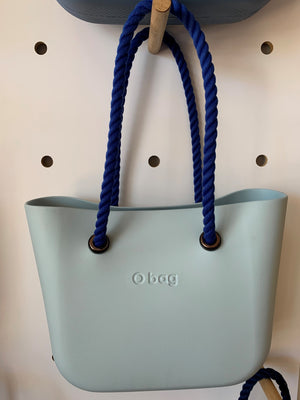 Powder blue Classic with blue rope handles.