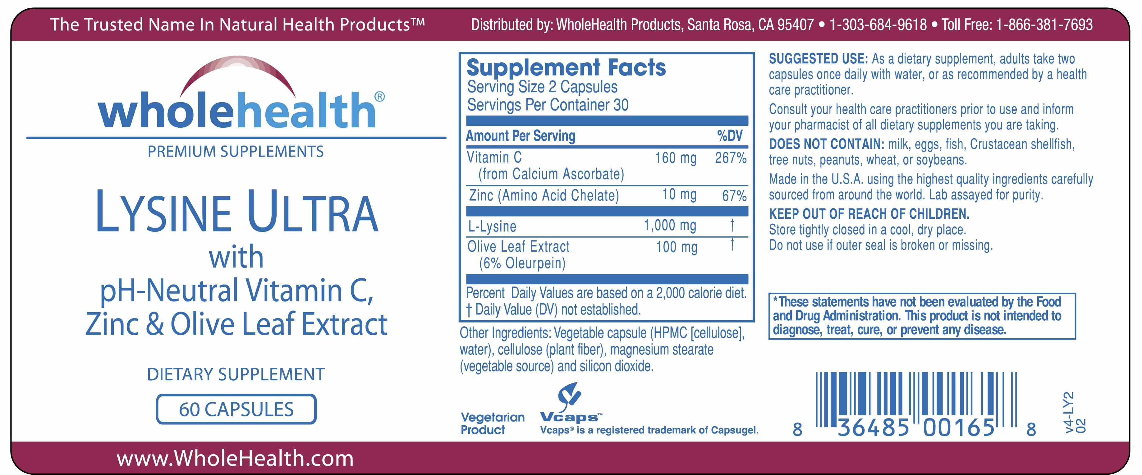 Lysine Ultra (60 Capsules) Supplement Facts Label