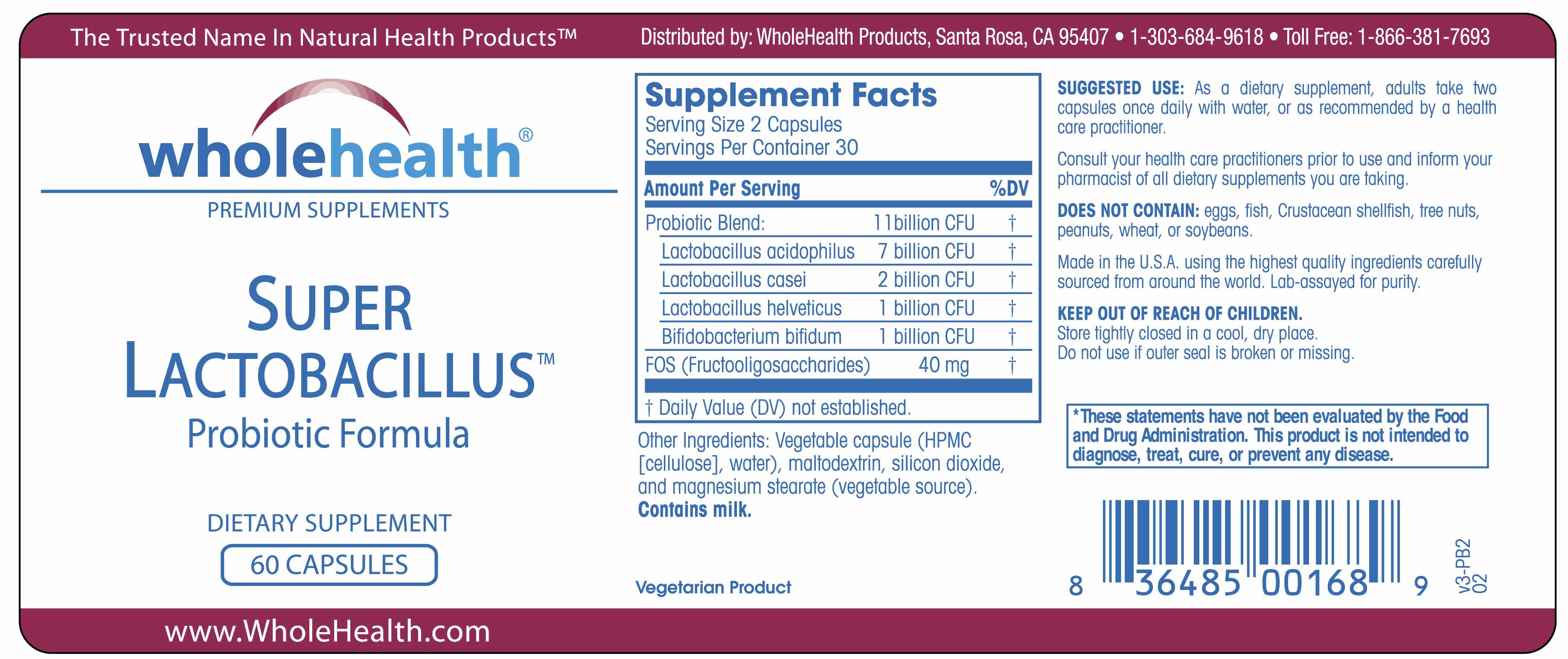 Super Lactobacillus Probiotics with FOS 11 Billion CFU (60 Vegetarian Capsules) Supplement Facts Label