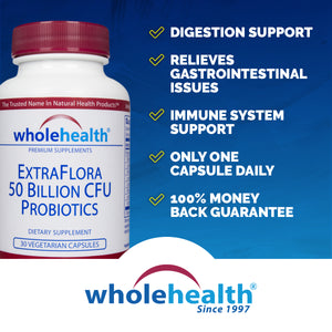 ExtraFlora; Probiotic 50 Billion CFU 8-Strain (30 Veg Capsules)