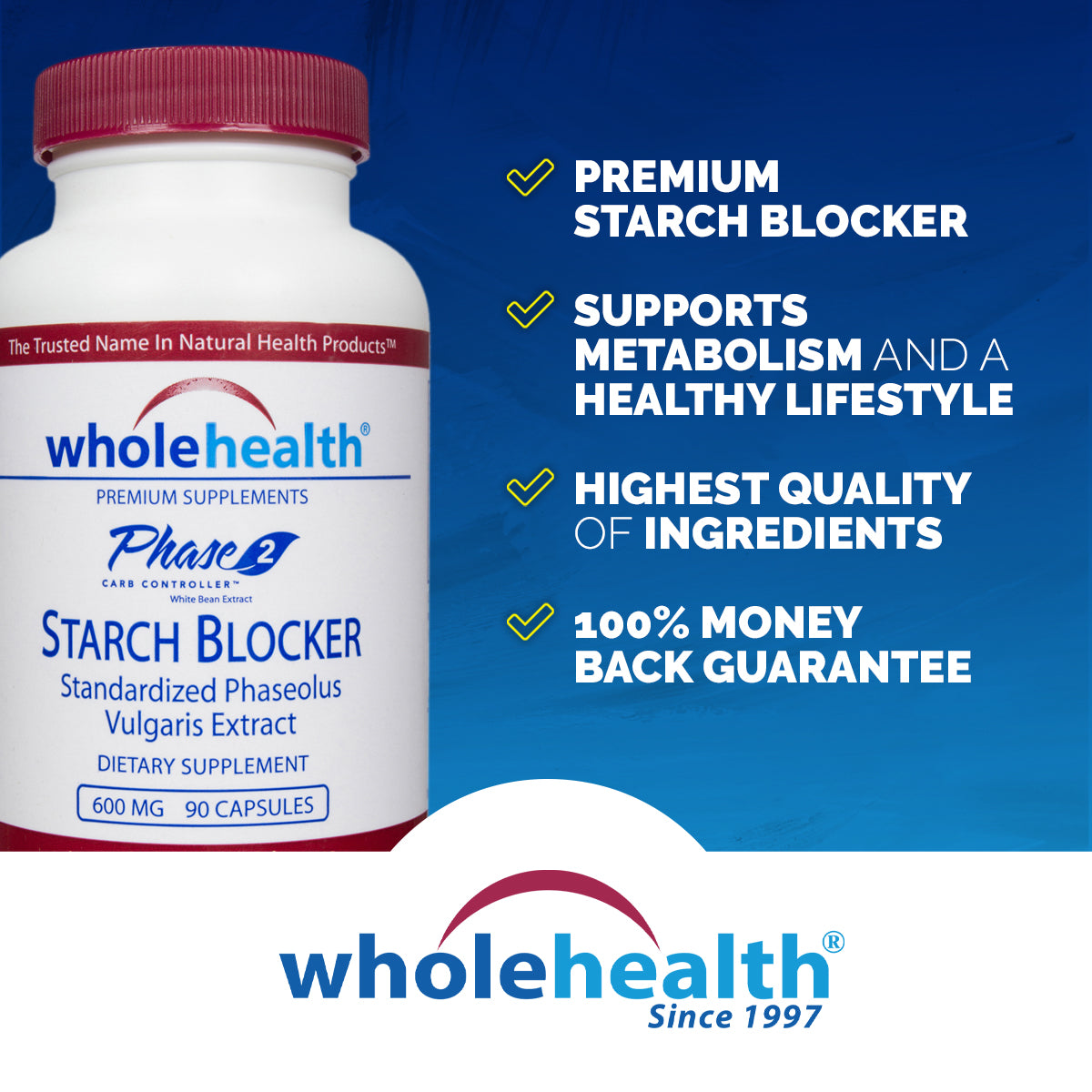 White Kidney Bean Extract - Phase 2 Starch Blocker 600mg (90 Capsules)