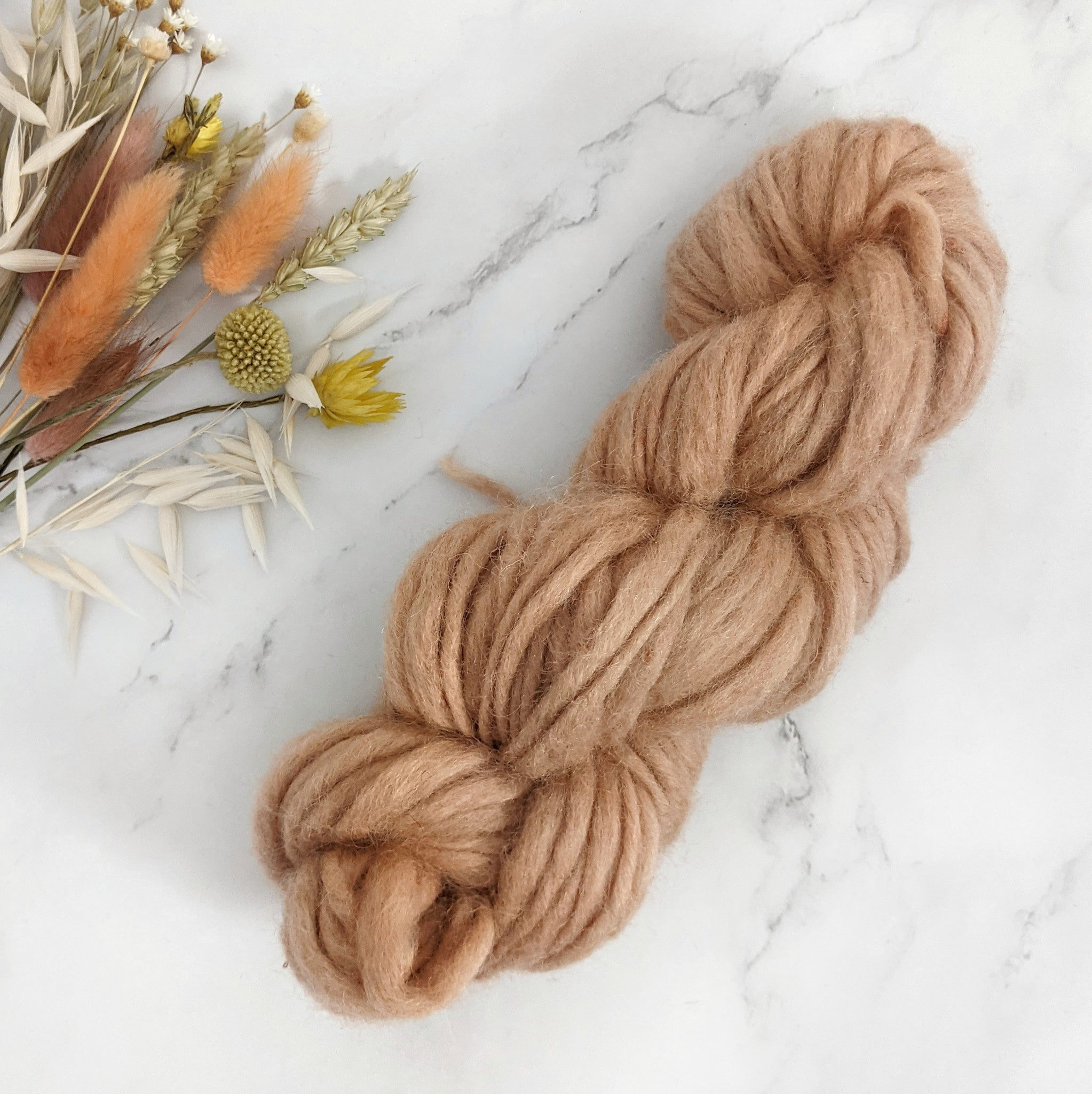 Hand Spun Chunky Slub Yarn - Dusty Peach