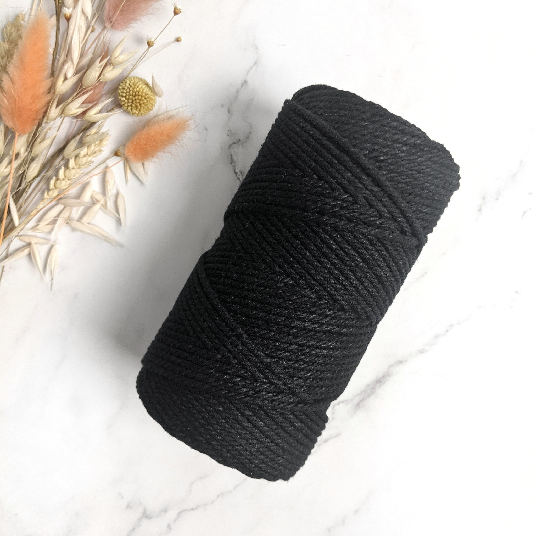 3mm Black Cotton 3ply Rope - 85m (0.5kg)