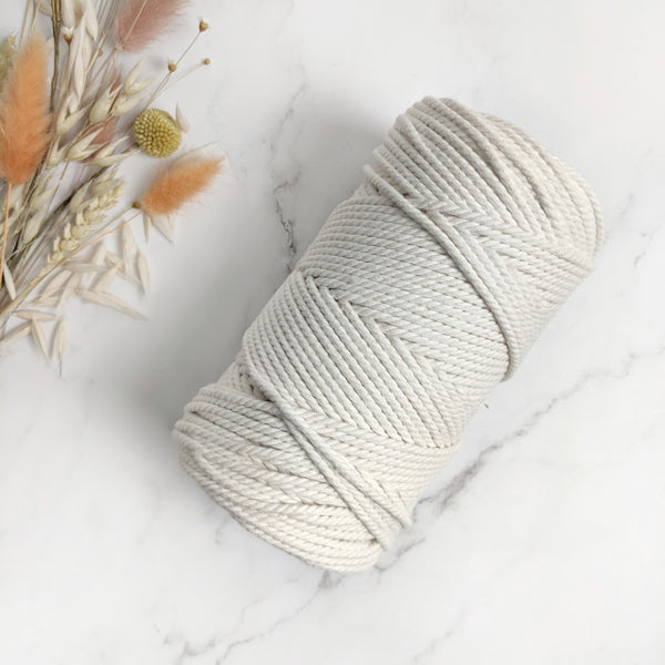 3mm Natural Cotton 3ply Rope - 85m (0.5kg)