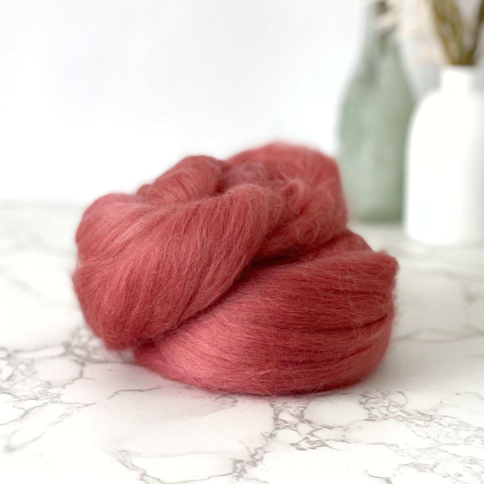 Fine Merino Wool Top Roving - Rusty Pink