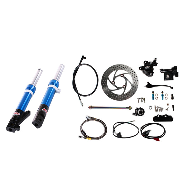 NCY FRONT END KIT (BLUE FORKS, NO RIM); HONDA RUCKUS