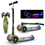 Kid's Shining Adjustable Foldable LED Lighted Scooter (2-12 Years)