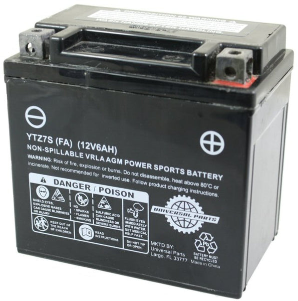 Universal Parts 12V 6AH Battery YTZ7S - Factory Activated