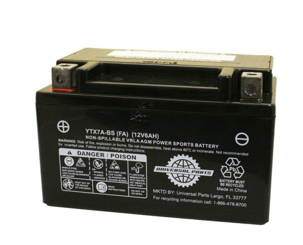 Universal Parts 12V 6AH Battery YTX7A-BS - Factory Activated