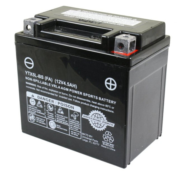 Universal Parts 12V 4.5AH Battery YTX5L-BS - Factory Activated