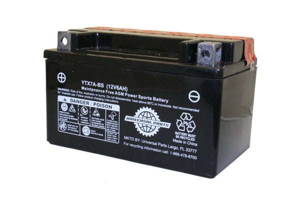 Universal Parts 12V 6AH Battery YTX7A-BS