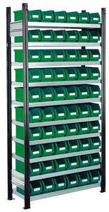 parts bins with storage racks