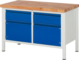 Industrial Workbench with Drawers & Cabinets