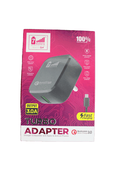 7 Colours 3.0 A Turbo Super Fastest Charging on Adapter - Vprefer