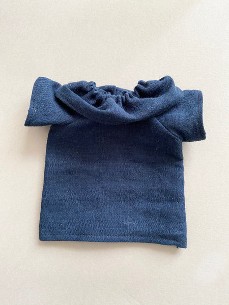 Navy linen flutter sleeve top