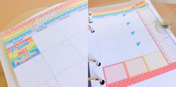 Rainbow pride planner sticker kit.
