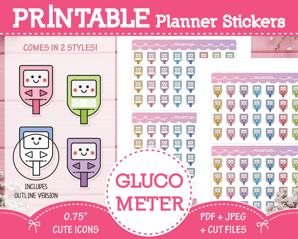 Printable Glucometer / Blood Sugar Tracker Icons - Cute Vector Icon Planner Stickers