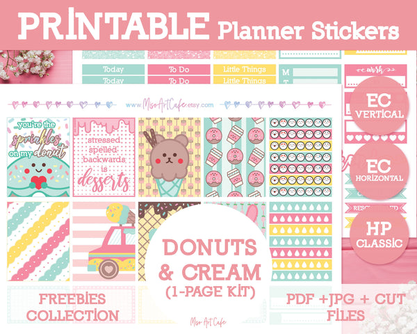 Printable x Freebie - Donuts & Cream Lite Kit (ECV / ECH / HPC) - Miso Art Cafe
