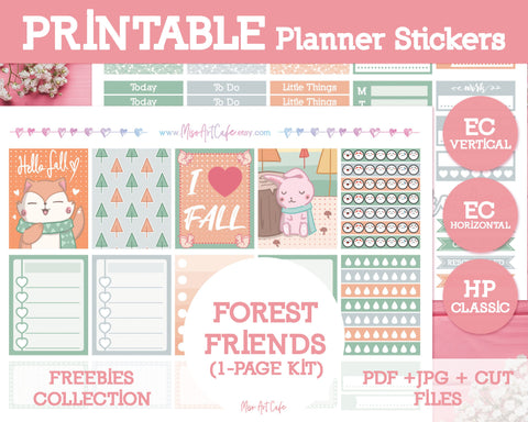 Printable x Freebie - Forest Friends Lite Kit (ECV / ECH / HPC) - Miso Art Cafe