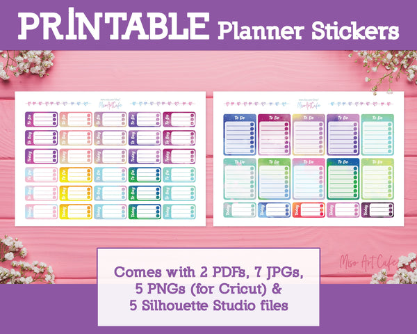 Printable To Do Lists - Galaxy Sparkle Planner Stickers - Miso Art Cafe Stickers for Planners