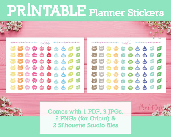 Printable Days of the Week - Nature Pastel Planner Stickers - Miso Art Cafe