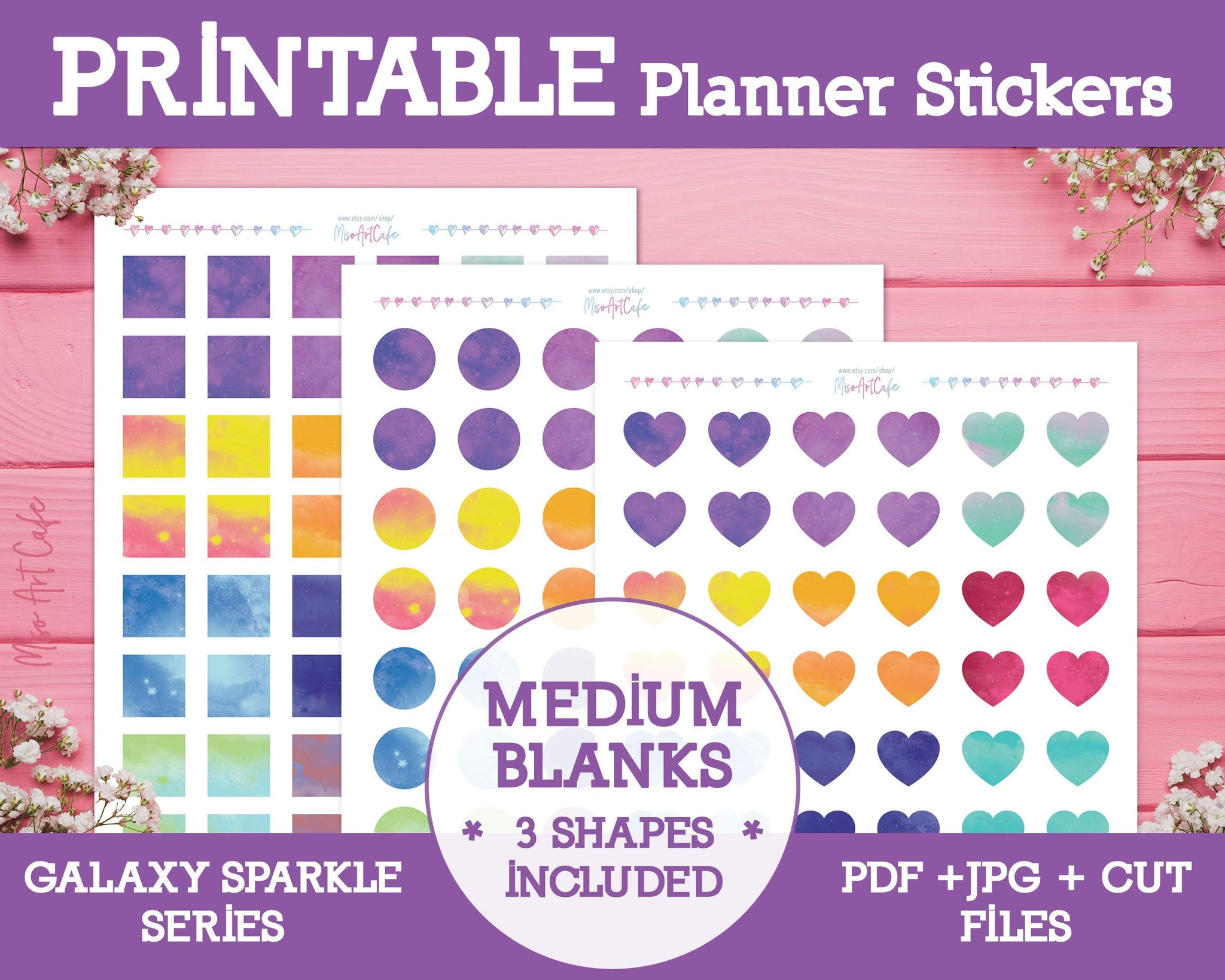 Printable Blank Medium Labels - Galaxy Sparkle Planner Stickers - Miso Art Cafe