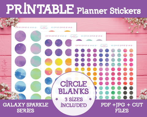 Printable Blank Circle Labels - Galaxy Sparkle Planner Stickers - Miso Art Cafe