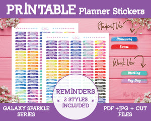 Printable Reminders - Galaxy Sparkle Planner Stickers - Miso Art Cafe Stickers for Planners