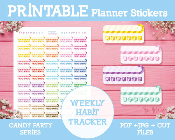 Printable Weekly Habit Trackers - Candy Party Planner Stickers - Miso Art Cafe