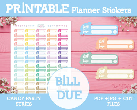 Printable Bill Due - Candy Party Planner Stickers - Miso Art Cafe