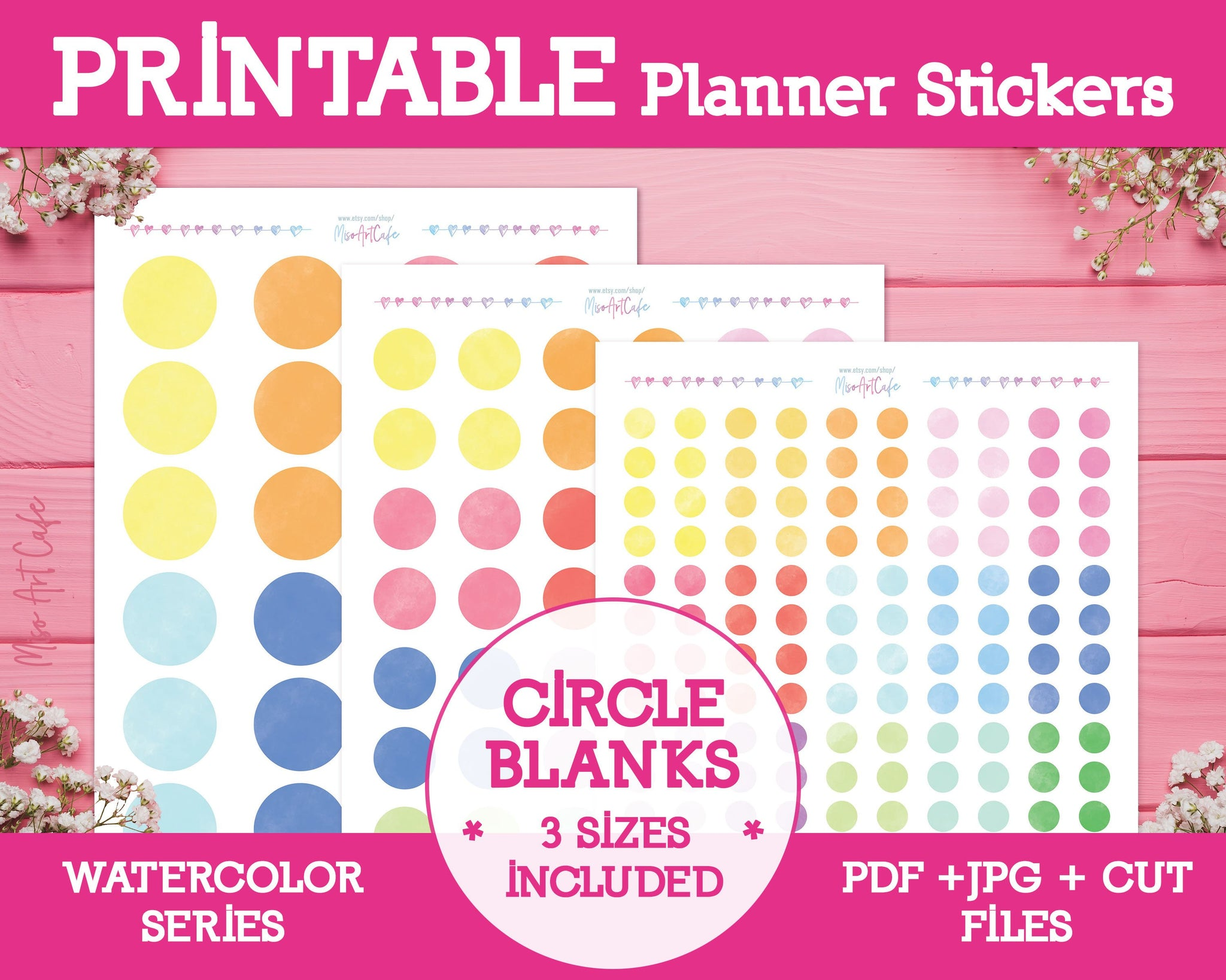 Printable Blank Circle Labels - Watercolor Planner Stickers - Miso Art Cafe