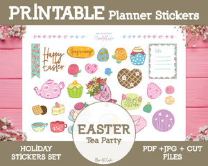 Printable Easter Holiday Doodles - Hand Drawn Planner Stickers - Miso Art Cafe