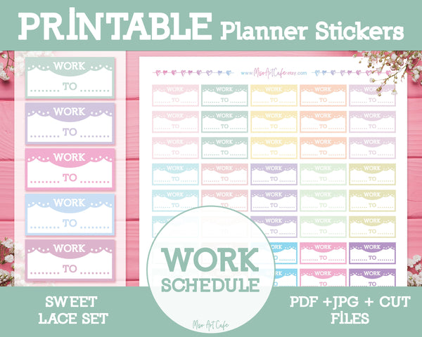 Printable Work Schedules - Sweet Lace Planner Stickers - Miso Art Cafe Stickers for Planners