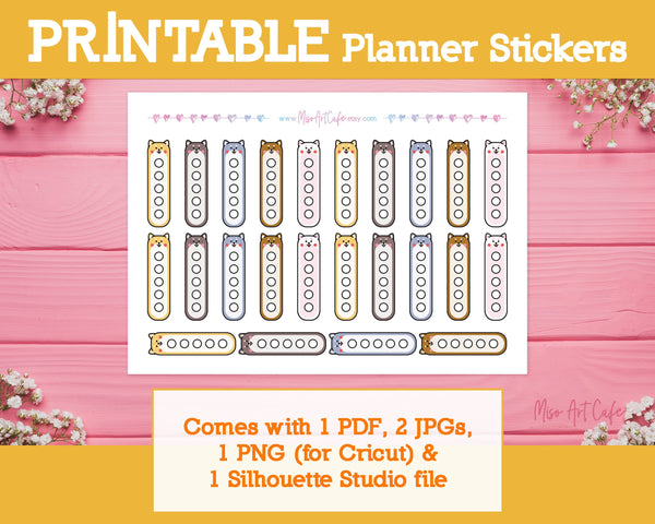 Printable Shiba Inu Checklists - Kawaii Animal Planner Stickers - Miso Art Cafe Stickers for Planners