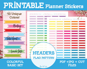 Printable Blank Headers - Colorful Basic Planner Stickers - Miso Art Cafe