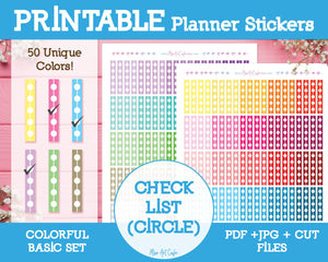 Printable Circle Checklists - Colorful Basic Planner Stickers - Miso Art Cafe