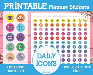 Printable Daily Icons - Colorful Basic Planner Stickers - Miso Art Cafe