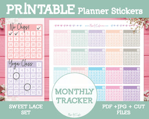 Printable Monthly Habit Trackers - Sweet Lace Planner Stickers - Miso Art Cafe Stickers for Planners