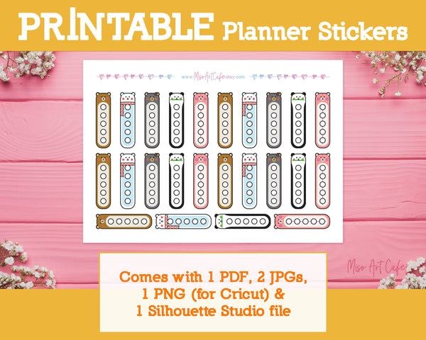 Printable Bear Checklists - Kawaii Animal Planner Stickers - Miso Art Cafe